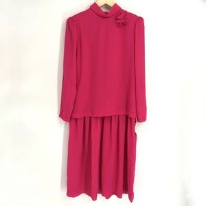 Vintage Pink Long Sleeve Dress
